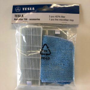 Zestaw 3 filtry Hepa + 1 ściereczka z mikrofibry do TESLA RoboStar T50